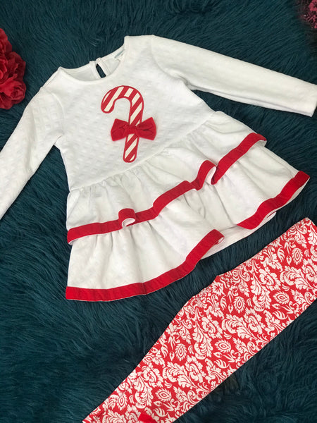 Peaches N Cream Holiday Christmas Candy Cane Lane Tunic and Legging Set CH - JEN'S KIDS BOUTIQUE