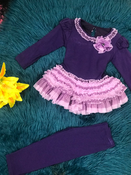 Isobella & Chloe Purple & Lavender Ruffle Legging Set - JEN'S KIDS BOUTIQUE