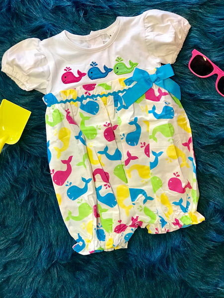 2018 Spring Adorable Wale Of Fun Romper - JEN'S KIDS BOUTIQUE