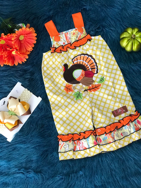 New Fall Millie Jay Turkey Romper - JEN'S KIDS BOUTIQUE