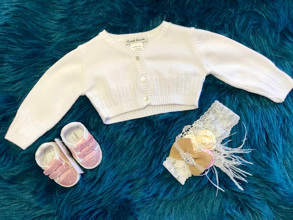 Sara Louise Off White Crochet Sweater - JEN'S KIDS BOUTIQUE