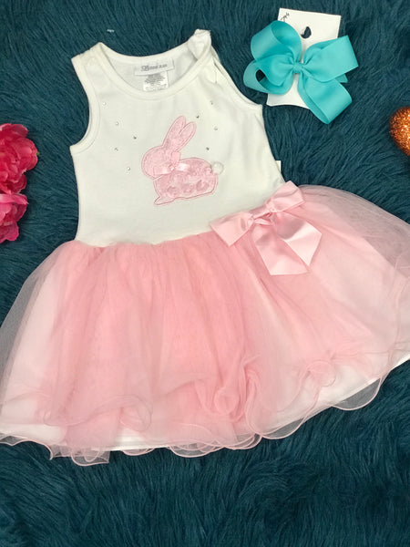 Bonnie Baby Easter White W/Pink Bow Bunny Tail And Flowers Set C - JEN'S KIDS BOUTIQUE