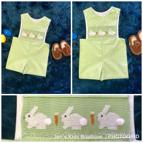 2018 Spring Three Sisters Boy Easter Green Bunny Romper - JEN'S KIDS BOUTIQUE