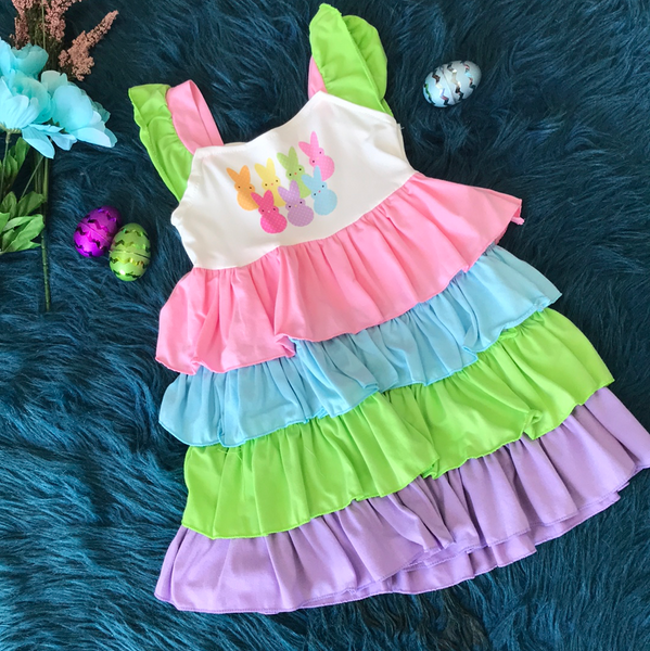 Spring Stripped Pastel Colored Bunny Dress - JEN'S KIDS BOUTIQUE