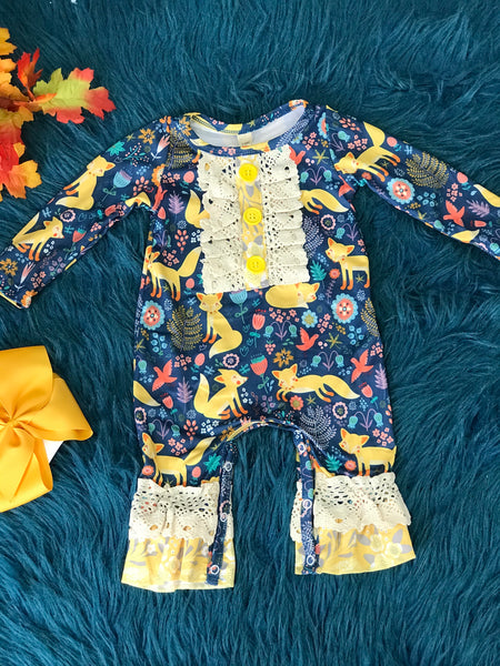 New Fall Infant Ruffle & Lace Baby Fox Romper - JEN'S KIDS BOUTIQUE