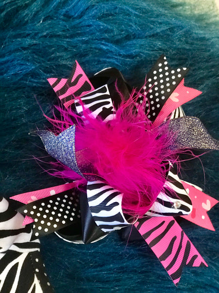 Cute Hot Pink Feather Zebra Hair Bow - JEN'S KIDS BOUTIQUE