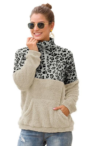 C+D+M Womens Pullover Faux Fur Jacket White & Grey Leopard - JEN'S KIDS BOUTIQUE