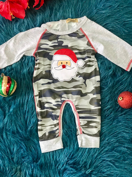 New Christmas Boys Button Nose Camo Santa Romper - JEN'S KIDS BOUTIQUE