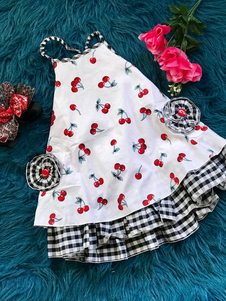 2019 Spring & Summer Girly Bird By Mack Co Red Cherry Fun Apron Halter Dress With Pockets - JEN'S KIDS BOUTIQUE