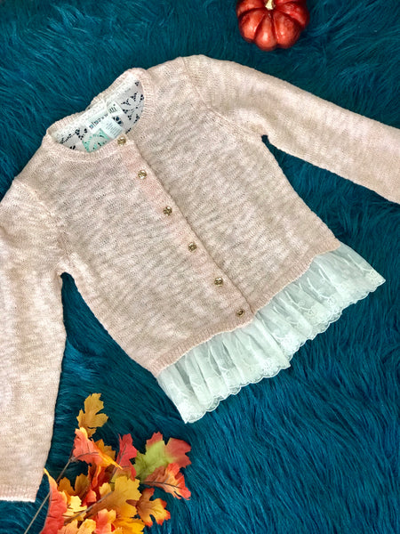 New Fall Pink Sparkle & Lace Fun Sweater - JEN'S KIDS BOUTIQUE
