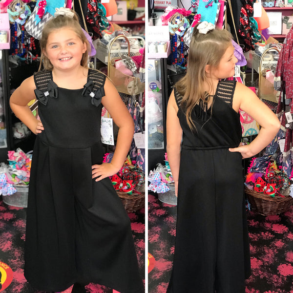New Fall Black With Bows & Buttons Short Sleeve Romper - JEN'S KIDS BOUTIQUE
