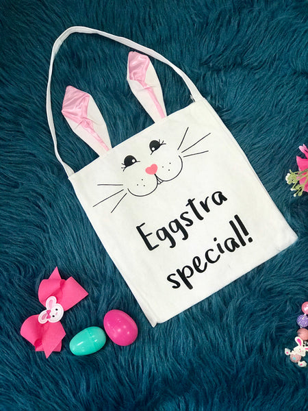 Spring Easter Eggstra Special Easter Bunny Bag With Pink Ears - JEN'S KIDS BOUTIQUE