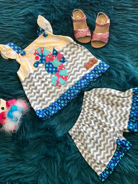Millie Jay Sea Horse Chevron Shorts Set - JEN'S KIDS BOUTIQUE