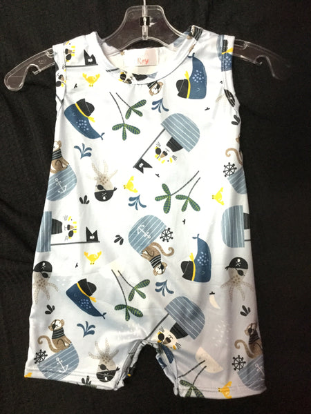 Spring & Summer Boys Ahoy Matey Shorty Romper By Mila Rose - JEN'S KIDS BOUTIQUE