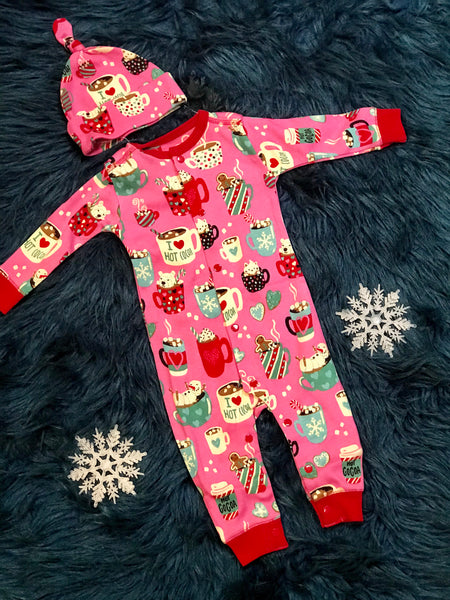 2509d7753 2018 Christmas Infant Coverall With Cap Pajamas Holiday Cocoa - JEN'S KIDS  BOUTIQUE