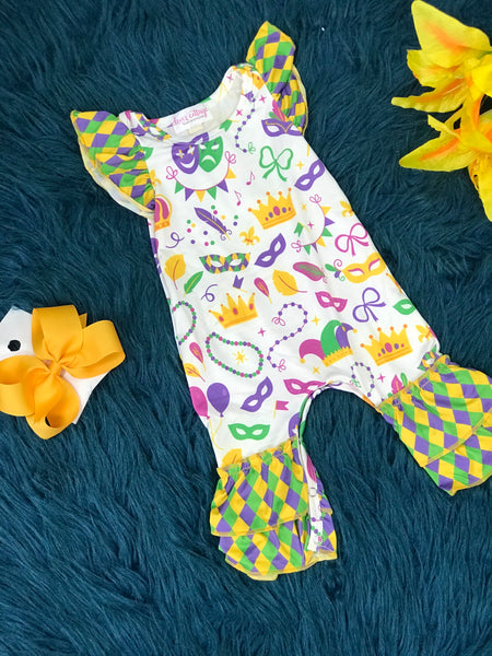 Spring Fun Mardi Gras Infant Romper - JEN'S KIDS BOUTIQUE