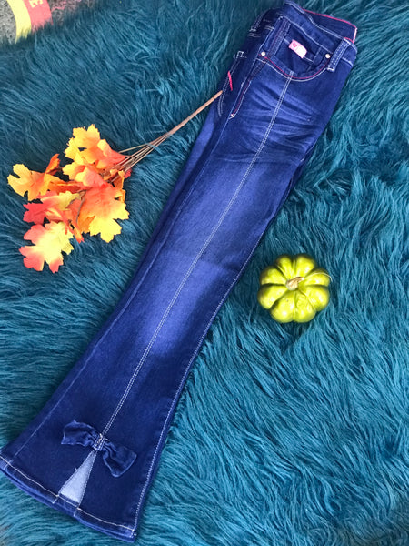 Fall Cutie Patootie Denim Jeans Dark Wash w/ Bow on Ankle - JEN'S KIDS BOUTIQUE