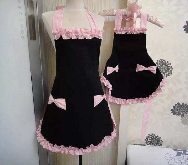 New Mom & Me Adorable Cotton Black & Pink Apron Mom - JEN'S KIDS BOUTIQUE