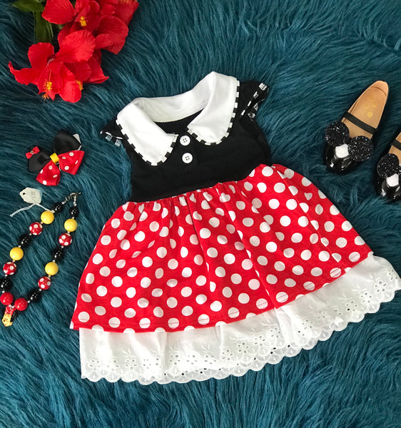 Character Fun Cotton Minnie Polka Dot Short Sleeve Dress - JEN'S KIDS BOUTIQUE