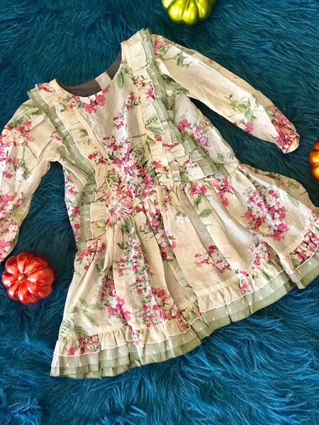 2018 Fall Isobella & Chloe Four Seasons Evergreen & Flower Dress - JEN'S KIDS BOUTIQUE