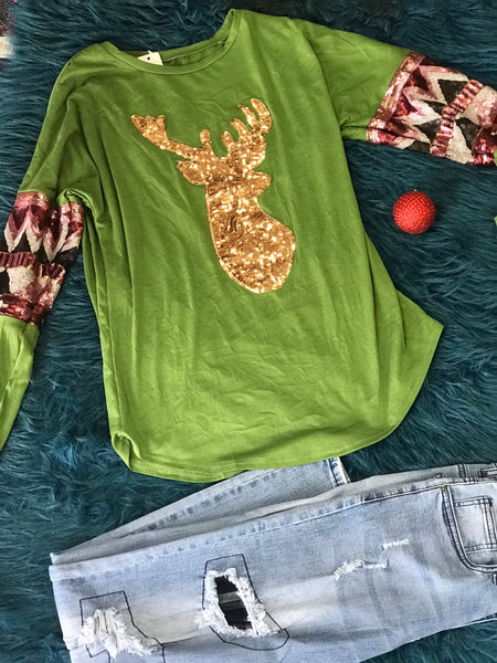New Fall & Christmas Women's Olive Green Sequin Deer Long Sleeve Shirt - JEN'S KIDS BOUTIQUE
