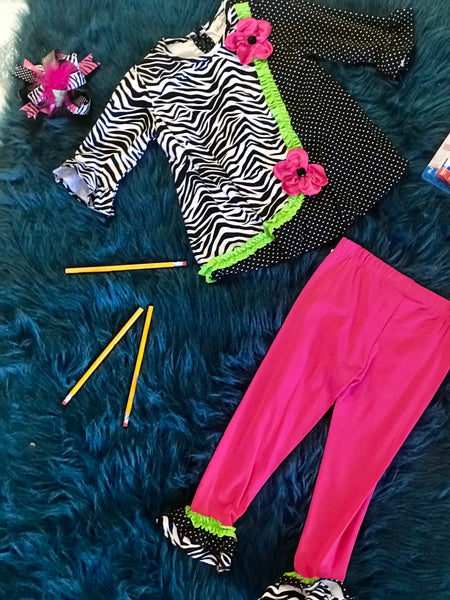 Fall Hot Pink  Zebra & Lime Pant Set CL - JEN'S KIDS BOUTIQUE