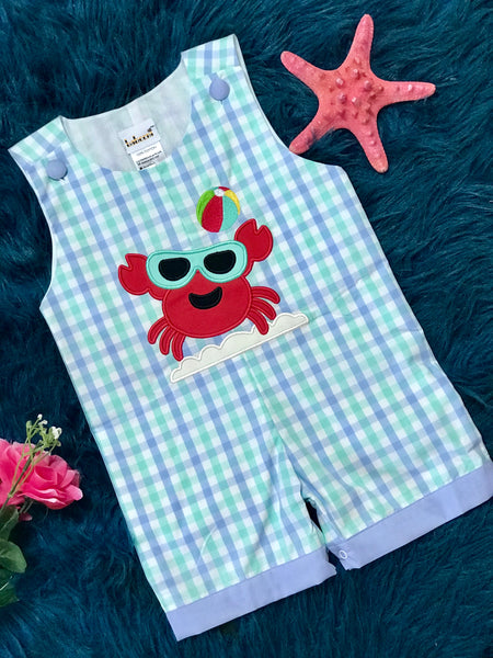 Spring Adorable Boys Crab Applique Romper - JEN'S KIDS BOUTIQUE