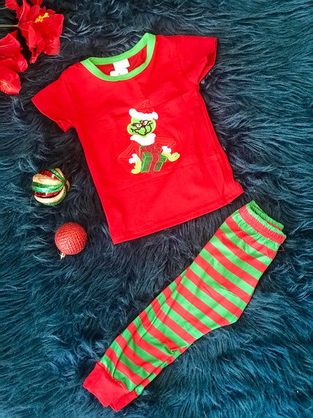 New Christmas Boys The Grinch Short Sleeve Legging Set C - JEN'S KIDS BOUTIQUE