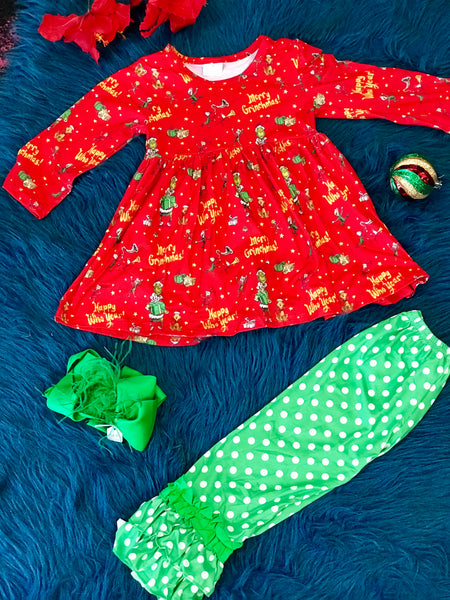 New Christmas Have A Merry Christmas Ruffle Grinch Set C - JEN'S KIDS BOUTIQUE