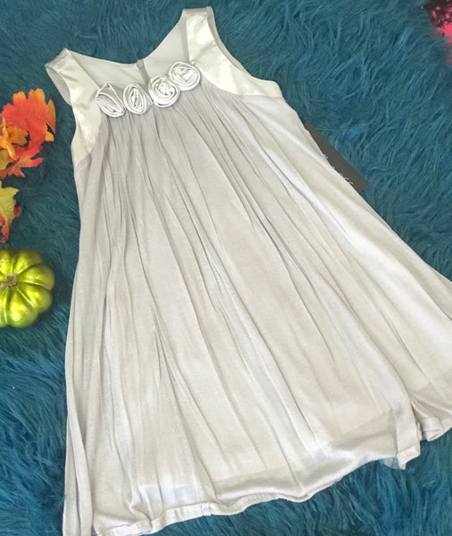 Isobella & Chloe Grey Tank Dress w/ Flowers - JEN'S KIDS BOUTIQUE