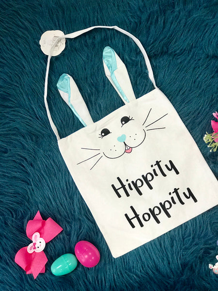 Spring Easter Hippity Hoppity Easter Bunny Bag With Blue Ears - JEN'S KIDS BOUTIQUE
