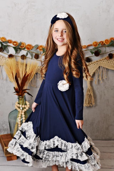 New Fall Serendipity Midnight Bloom Maxi Twirling Dress flower separate but available - JEN'S KIDS BOUTIQUE