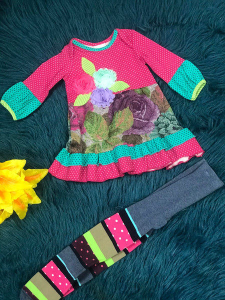 ZaZa Couture Fuchsia Flower Tights Set - JEN'S KIDS BOUTIQUE