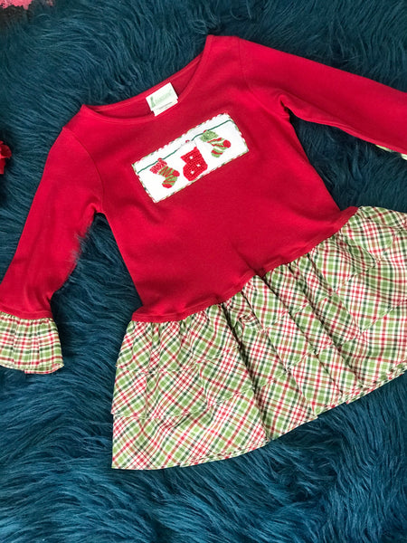 Zuccini Red Stocking Dress w/ Plaid Lining CH - JEN'S KIDS BOUTIQUE