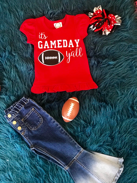 Fall It's Game Day Ya'll Girls Ruffle Red Shirt - JEN'S KIDS BOUTIQUE