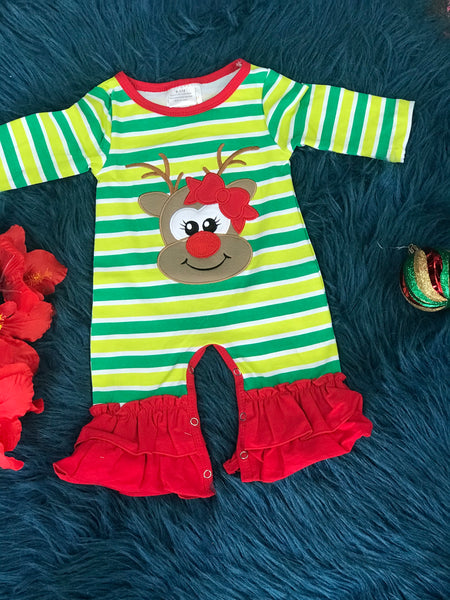 New Christmas Green Stripped Rudolph Red Nose Reindeer Ruffle Romper - JEN'S KIDS BOUTIQUE