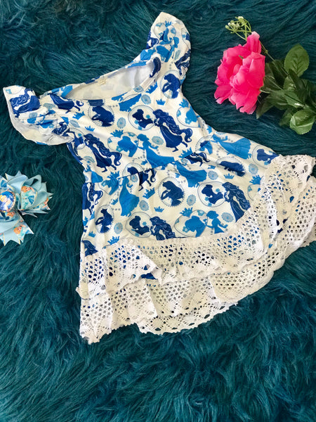 2019 Spring & Summer White & Blue Princess Dress - JEN'S KIDS BOUTIQUE