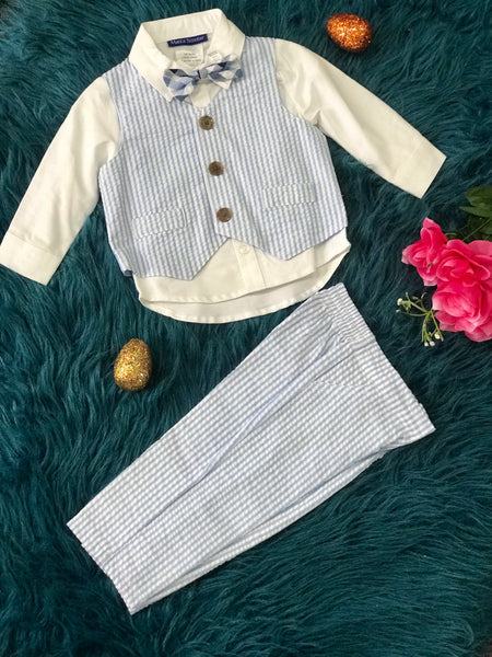 Bonnie Jean Boys Easter Light Blue Stripe Suit W/ Bow Tie - JEN'S KIDS BOUTIQUE