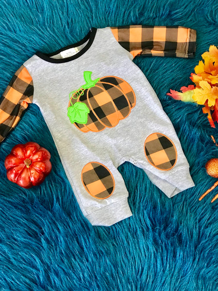Fall Boys Plaid Pumpkin Longall - JEN'S KIDS BOUTIQUE