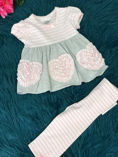 Bonnie Jean Pink Stripped & Gray Heart Pant Set V - JEN'S KIDS BOUTIQUE