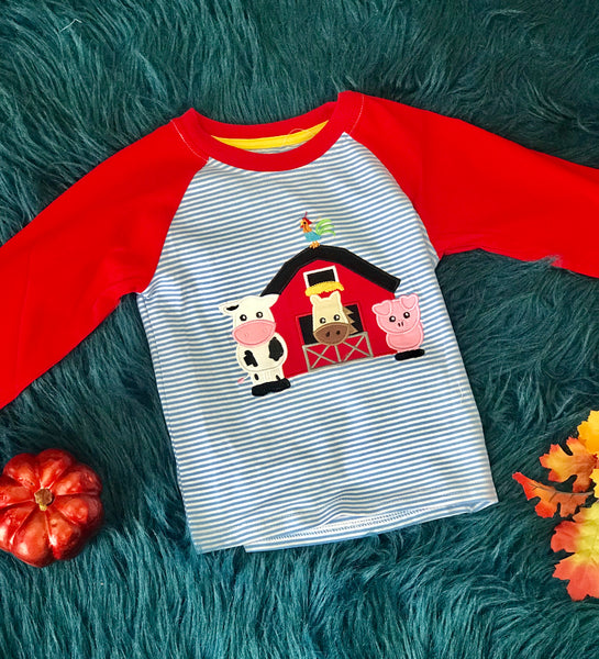 New Fall Be Mine Boys Stripped Farm Long Sleeve Applique Shirt - JEN'S KIDS BOUTIQUE