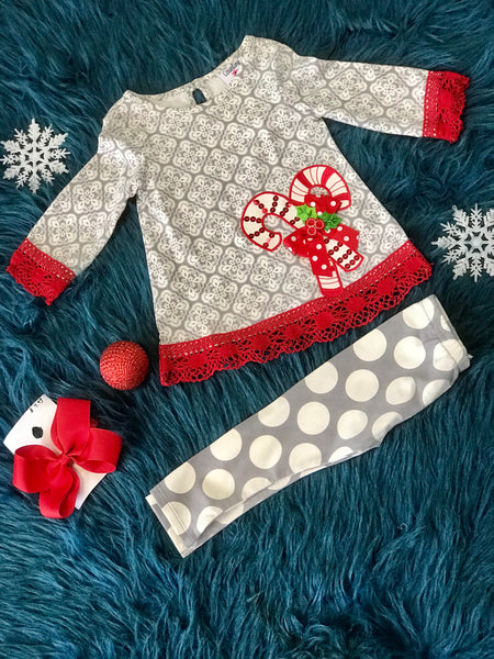 98bbbb3560cb Rare Editions gray Red Mixed Print Legging W Candy Canes - JEN S KIDS  BOUTIQUE