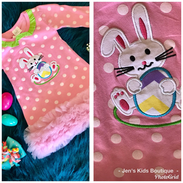 Princess Pink Easter Polka Dot Bunny Dress - JEN'S KIDS BOUTIQUE