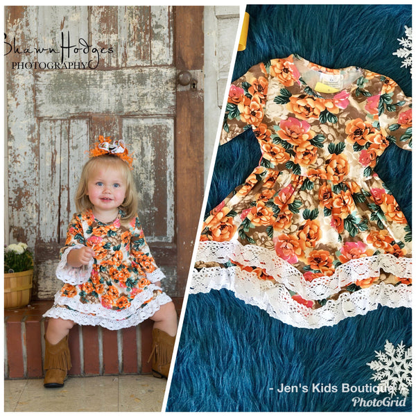 Fall Orange Floral Long Sleeve Dress With Lace Ruffles - JEN'S KIDS BOUTIQUE