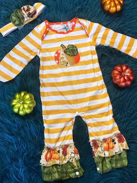 2018 Fall Thanksgiving Vintage Pumpkin Infant Romper - JEN'S KIDS BOUTIQUE