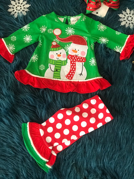 2018 Christmas Green & Red Snowmen Friends Pant Set - JEN'S KIDS BOUTIQUE