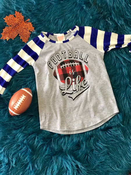 Fall Women's Football Is Everything With Plaid Football & Stripped Sleeves Blue - JEN'S KIDS BOUTIQUE