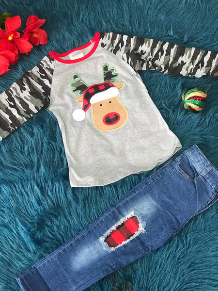 New Christmas Girls Camo Reindeer Denim Jeans Pant Set C - JEN'S KIDS BOUTIQUE