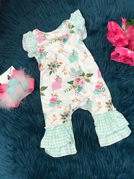 Easter Plaid Floral Bunny Infant Romper - JEN'S KIDS BOUTIQUE