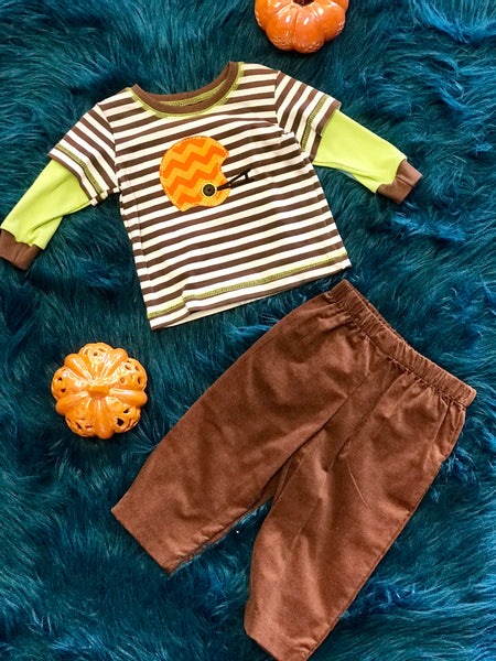 Boys N Berries By Peaches N Cream Boys Thanksgiving Pumpkin Pant Set - JEN'S KIDS BOUTIQUE